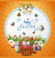happy easter with eggs and flowers on circle vector image vector image