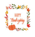 happy thanksgiving day card with flowers vector image vector image