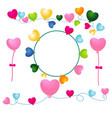 heart balloons with envelopes and rope vector image