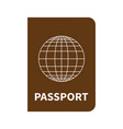 international brown passport with globe on white vector image vector image