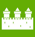 medieval wall and towers icon green vector image vector image
