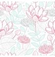 Modern line art florals seamless pattern