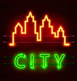 neon city text banner city shape vector image vector image
