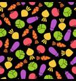 outline seamless vegetable black background design vector image