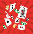 poker cards casino chip gambling design red vector image vector image