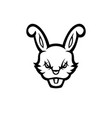 rabbit mascot logo black and white version vector image vector image