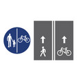 road sign pedestrian and bicyclist vector image vector image