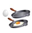 Scrambled eggs in pan cooking breakfast vector image vector image