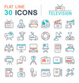 Set flat line icons television