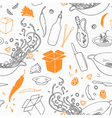 Stylized seamless pattern with hand drawn wok vector image vector image