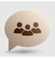 Team work sign Brown gradient icon on bubble with