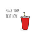 template with red soda cup vector image vector image
