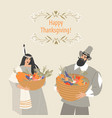 thanksgiving card with pilgrim and native american vector image vector image