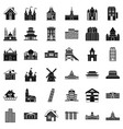 tower building icons set simple style vector image vector image