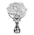 trophy cup with lush lush floral bouquet vector image vector image