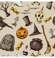 Vintage Hand drawn Halloween Seamless Background vector image