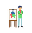 bohemian artist in beret standing near easel vector image