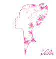 woman silhouette with blossom and shine vector image