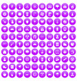 100 lumberjack icons set purple vector image vector image