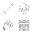 a shovel with a handle a tree in the garden vector image vector image
