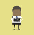 african businessman takes a picture with camera vector image vector image
