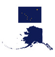 alaska flag and state map vector image vector image