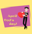 april fools day greeting card with mime vector image