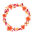 autumn leaves with red berry and maple leaf wreath vector image vector image