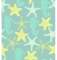 background with starfishes and seahorse vector image