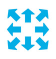 blue thick arrows in 8eight different directions vector image vector image
