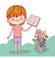 boy with education books and flowers plants vector image vector image