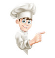 cartoon chef pointing at sign vector image vector image