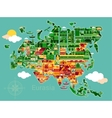 Cartoon map of Eurasia vector image vector image