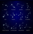 constellation stars zodiac signs in space vector image vector image