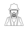 construction worker avatar black and white vector image vector image