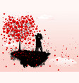 couple in love next to a tree with hearts vector image