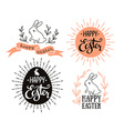 easter set with lettering sunburst and rabbit vector image