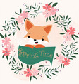 fox boy and spring time card vector image