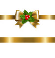 golden bow with holly berry vector image vector image