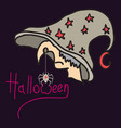 halloween grungy witch in hat lettering greeting vector image