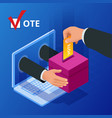 isometric online voting and election concept vector image vector image