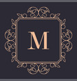 luxury brand vintage logotype with flora and lines vector image vector image