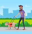 man walking with dog in city park vector image vector image