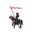 medieval knight riding horse royal guard in black vector image vector image