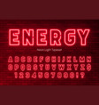 neon light alphabet extra glowing font design vector image