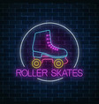 retro roller skates glowing neon sign in circle vector image vector image