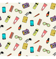 Seamless pattern of woman handbag contents vector image