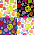 Set of four seamless pattersns with round shapes vector image vector image