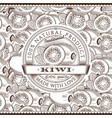 vintage kiwi label on seamless pattern vector image vector image