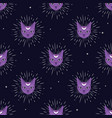 violet cat face with moon on night sky seamless vector image